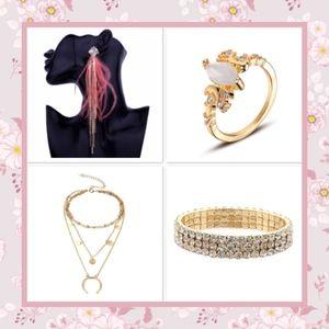 🌸4PC SET EARRINGS NECKLACE BRACELET RING GOLD